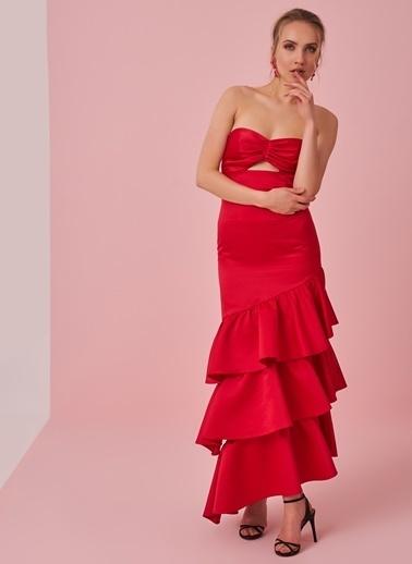 morhipo x dcey Eteği Volanlı Straplez Elbise Kırmızı
